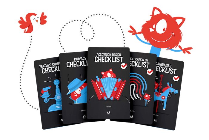 An illustration of Topple the Smashing Cat next to his friend Birdie excited about the brand new checklists cards dedicated to everything from carousels to web forms