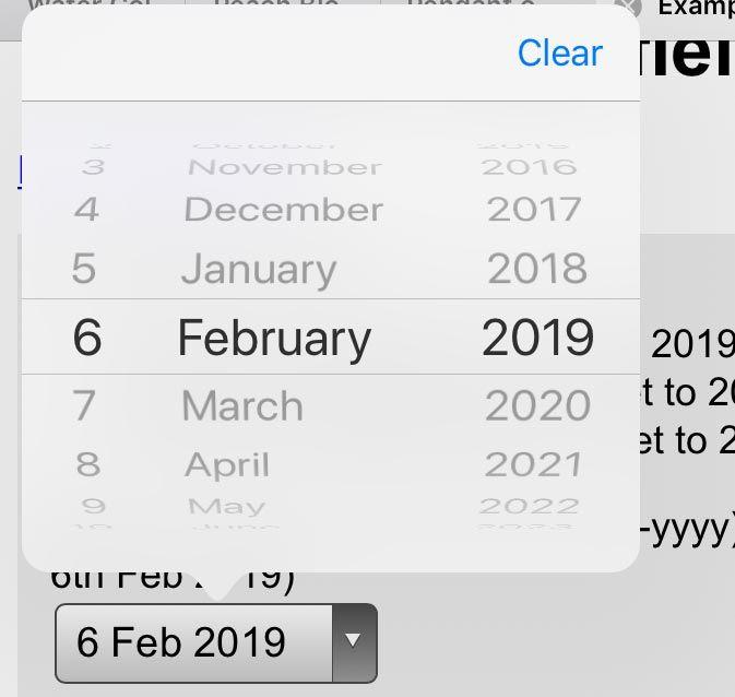 Birthday picker showing 6 February 2019