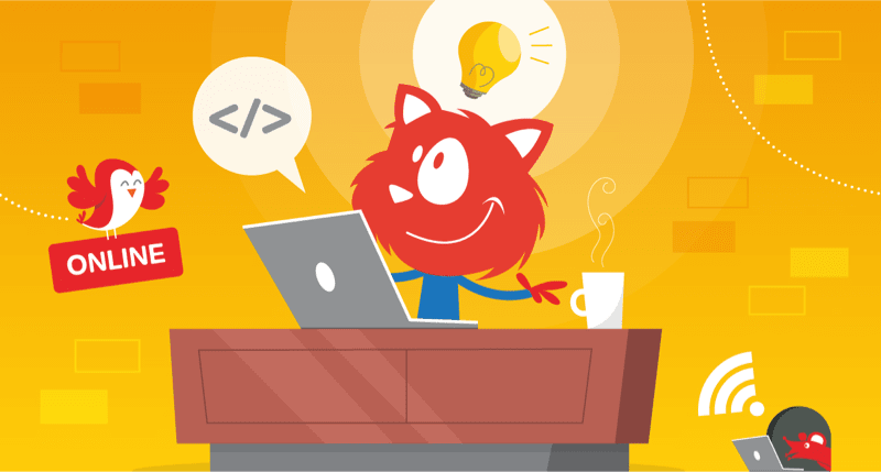 Smashing Cat behind its desk, while attending an online workshop, of course.