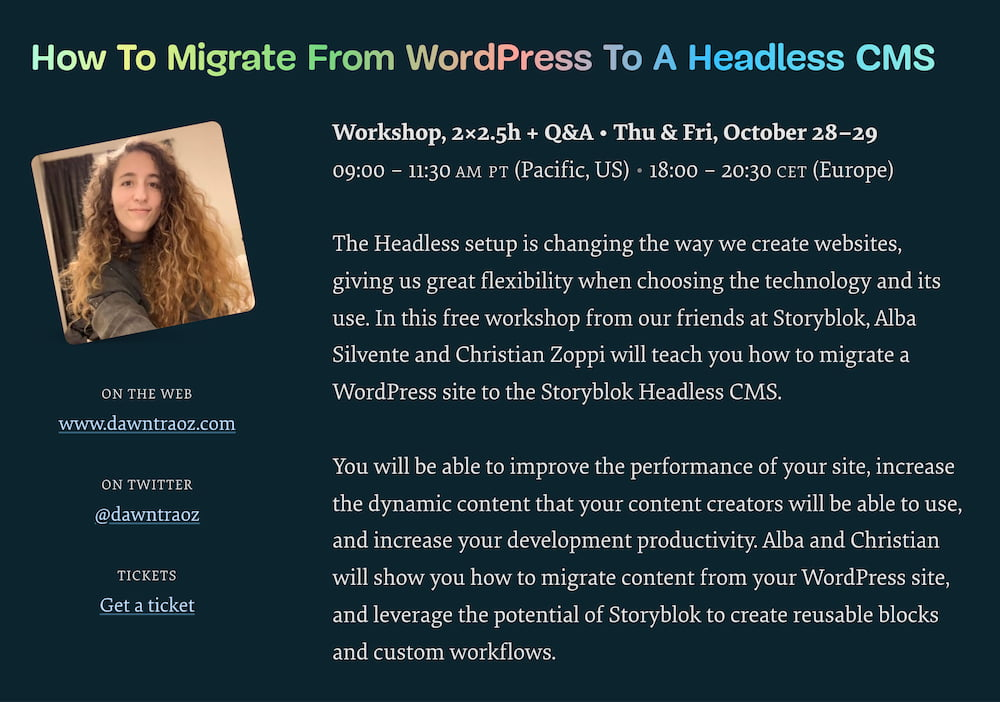 Free online workshop for migration to a headless CMS.