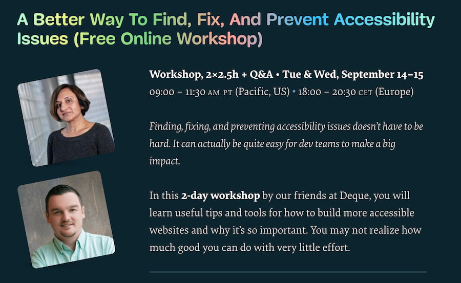 Online Workshop on How To Find, Fix and Prevent Accessibility Issues