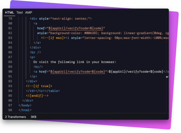 Parcel, a text editor for HTML emails
