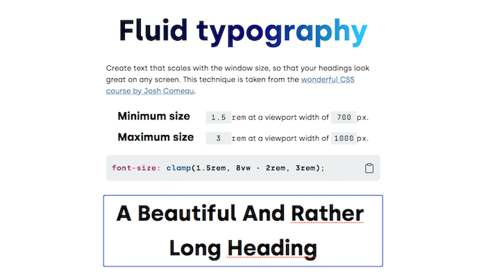 CSS clamp() Fluid Heading Generator