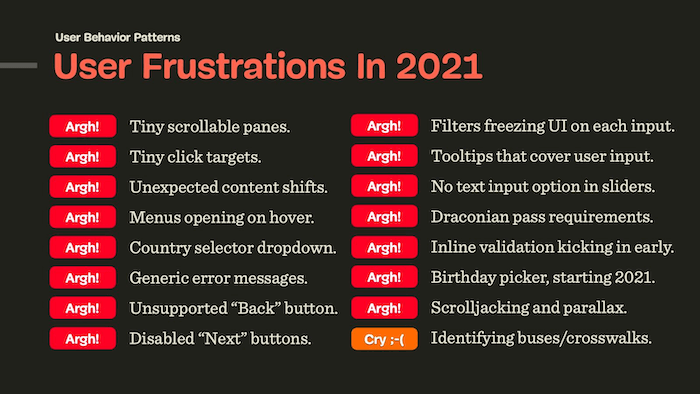 User Frustrations In 2021