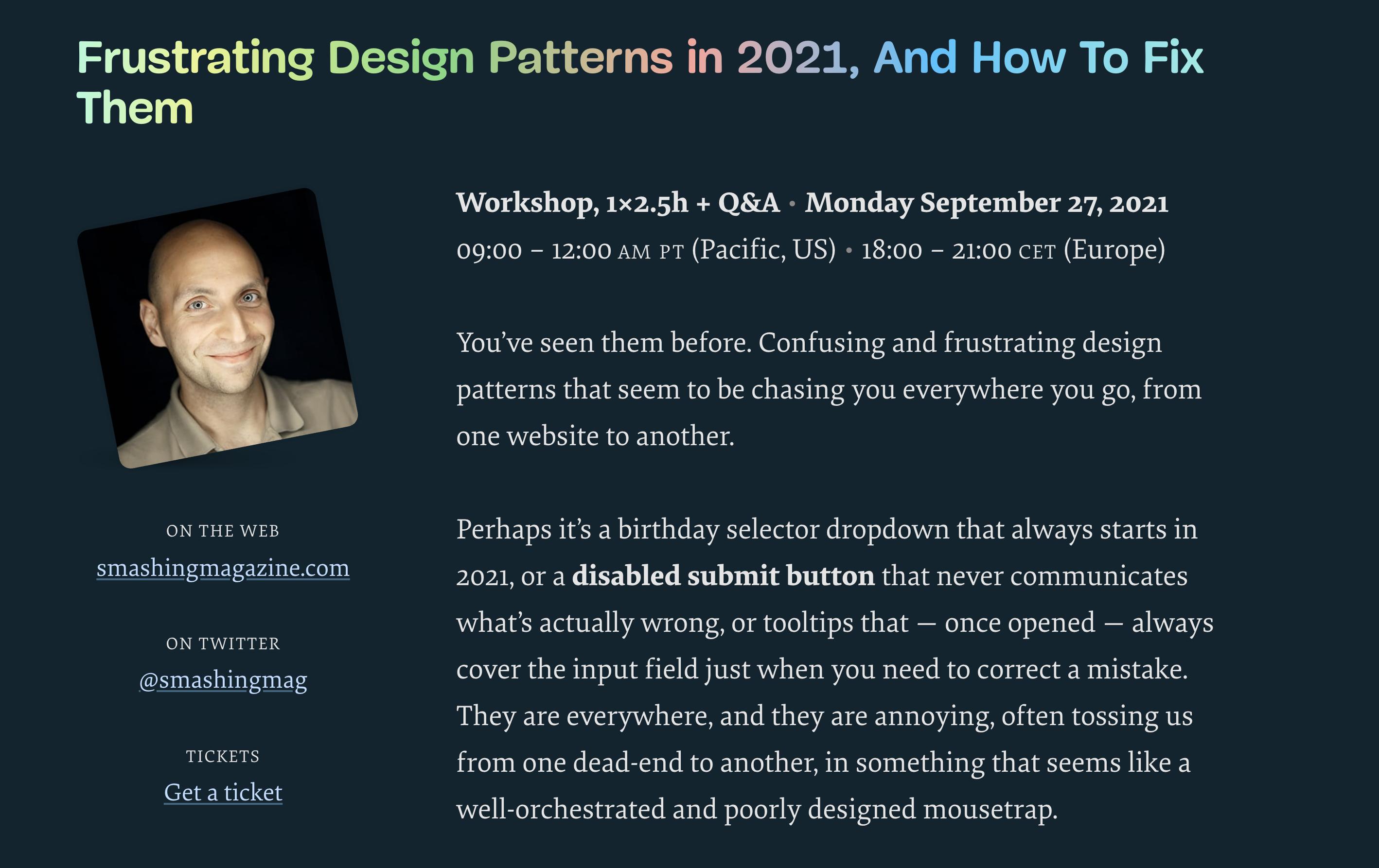 Frustrating Design Patterns in 2021