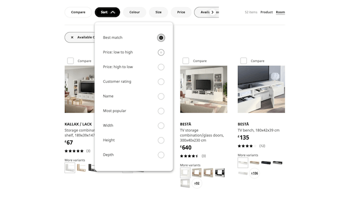 IKEA website screengrab