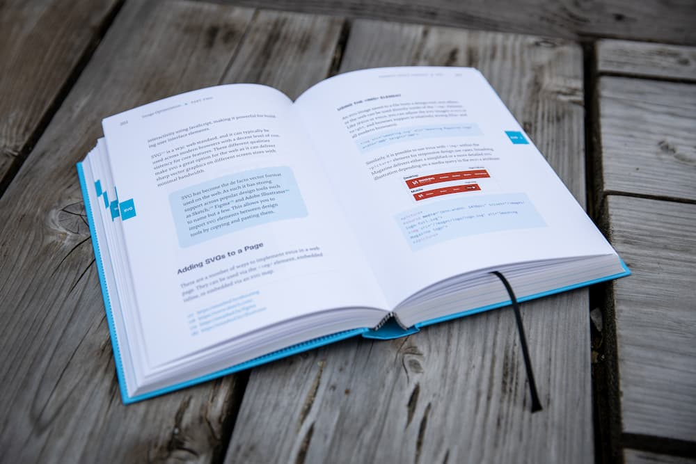 A look into the book: with a lot of whitespace and a vibrant color scheme.