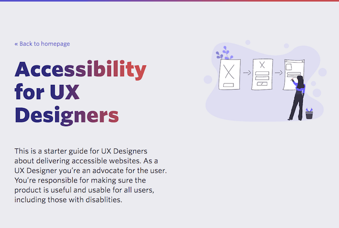 "Introduction to the chapter ""Accessibility for UX Designers"" from the guide, along with a short summary of the chapter and an illustration of a person working on wireframes."