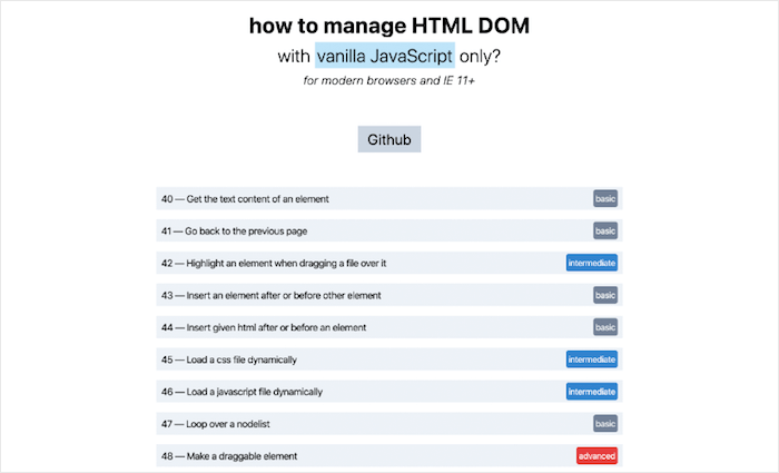How to manage HTML DOM with vanilla JavaScript only