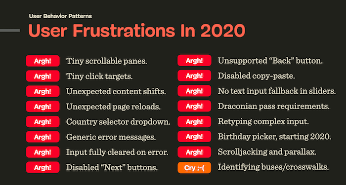 User Frustrations in 2020