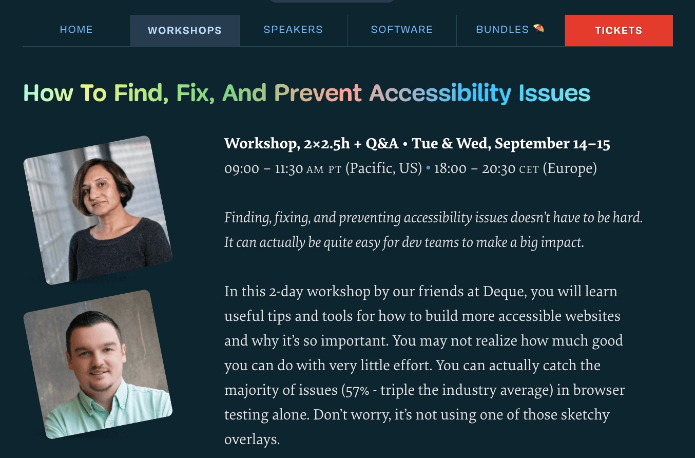 Free online workshop on How To Find, Fix, And Prevent Accessibility Issues, by our friends at Deque.
