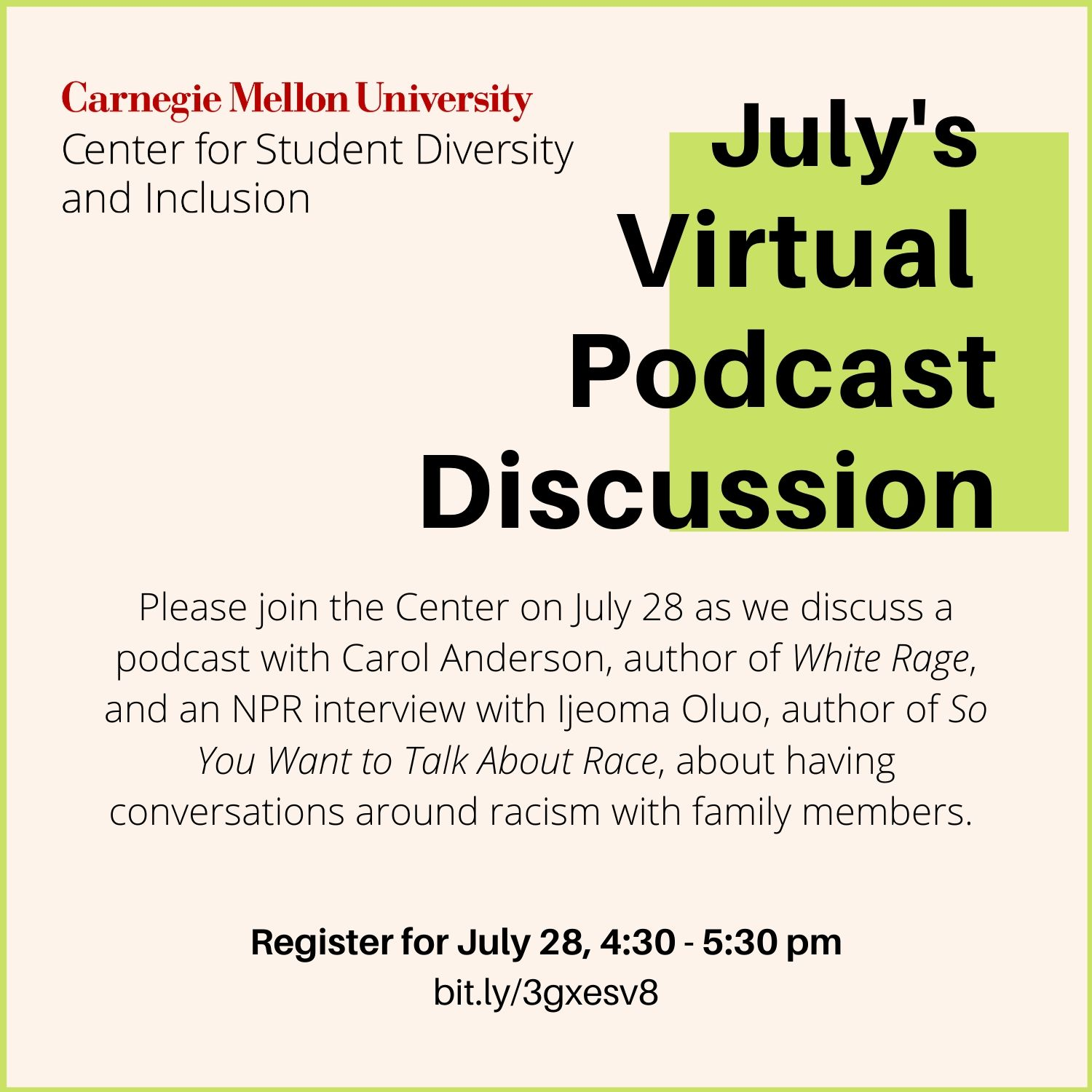 Event flyer for July's Virtual Podcast Discussion on July 28.