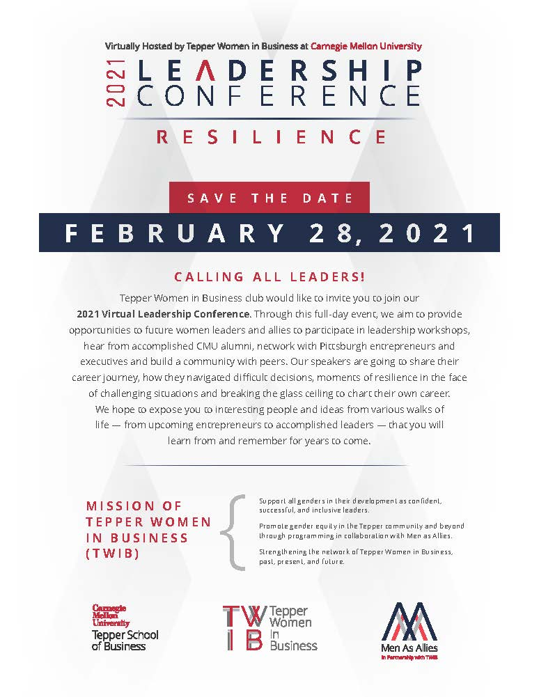 Save the Date flyer for the 2021 Tepper Women in Business Leadership Conference on February 28.