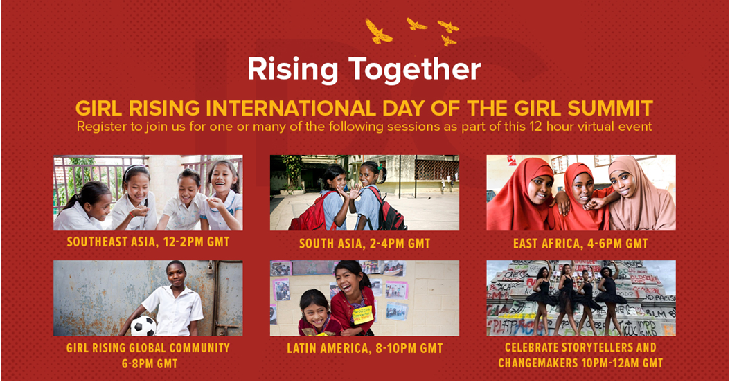 Flyer for Rising Together, Girl Rising International Day of the Girl Summit