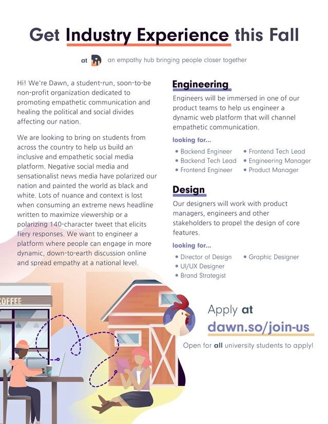 Flyer to apply to position at Dawn