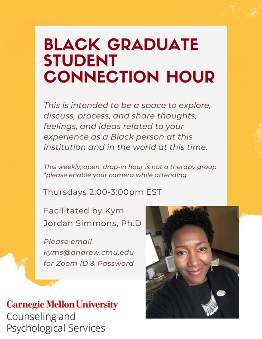 "Flyer for ""Black Graduate Student Connection Hour"""