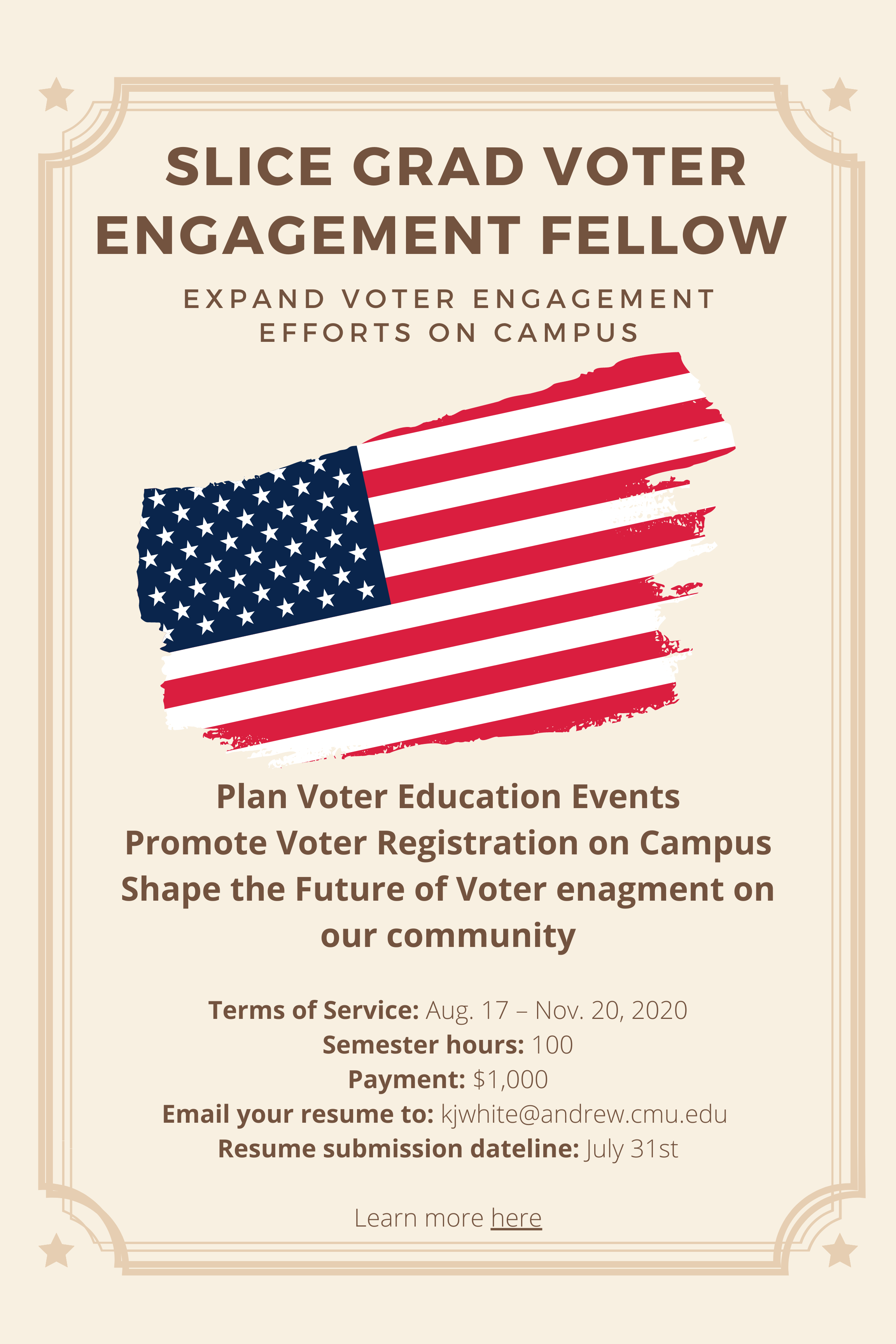 Flyer for SLICE Grad Vote Engagement Fellow.