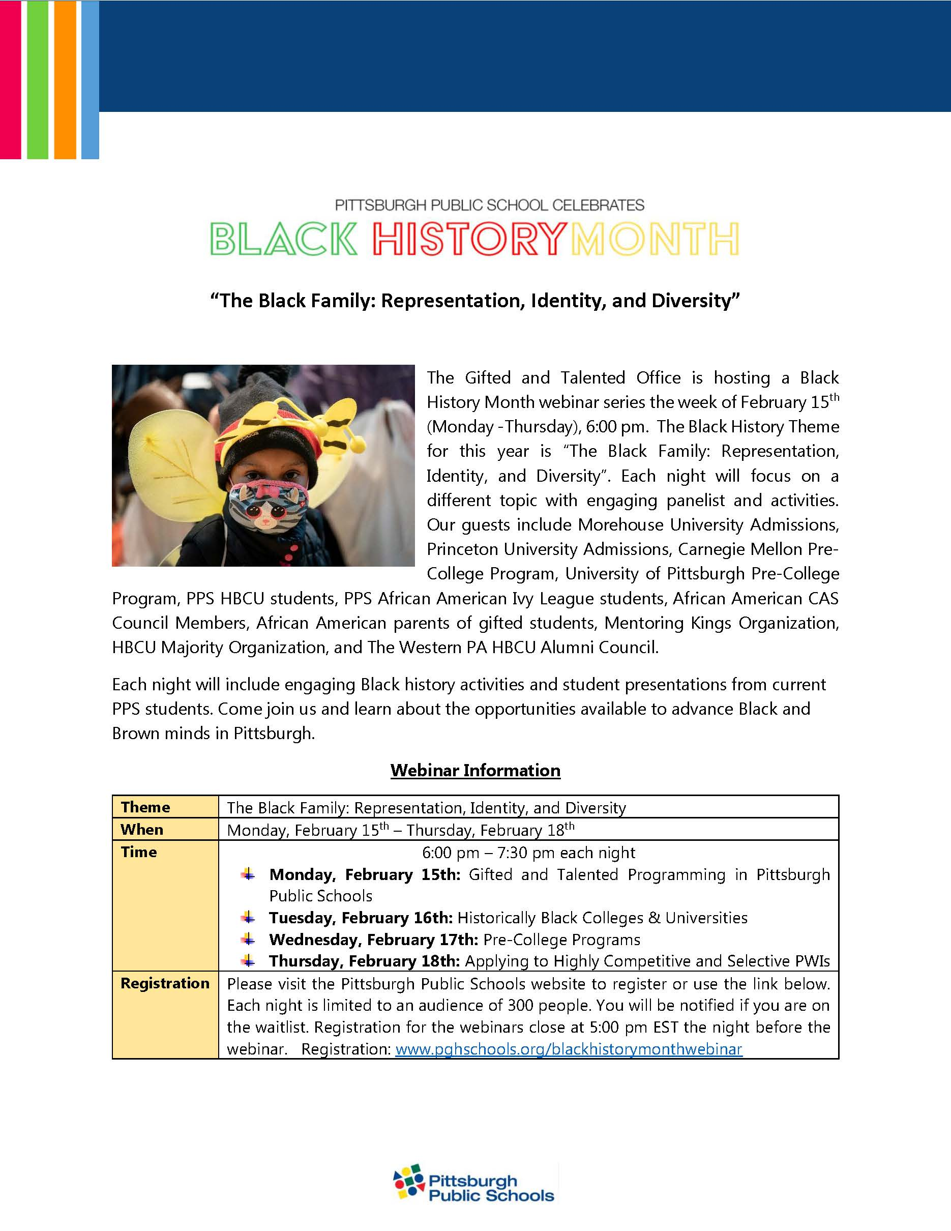 Flyer for webinar series The Black Family: Representation, Identity and Diversity on February 15 to 18.