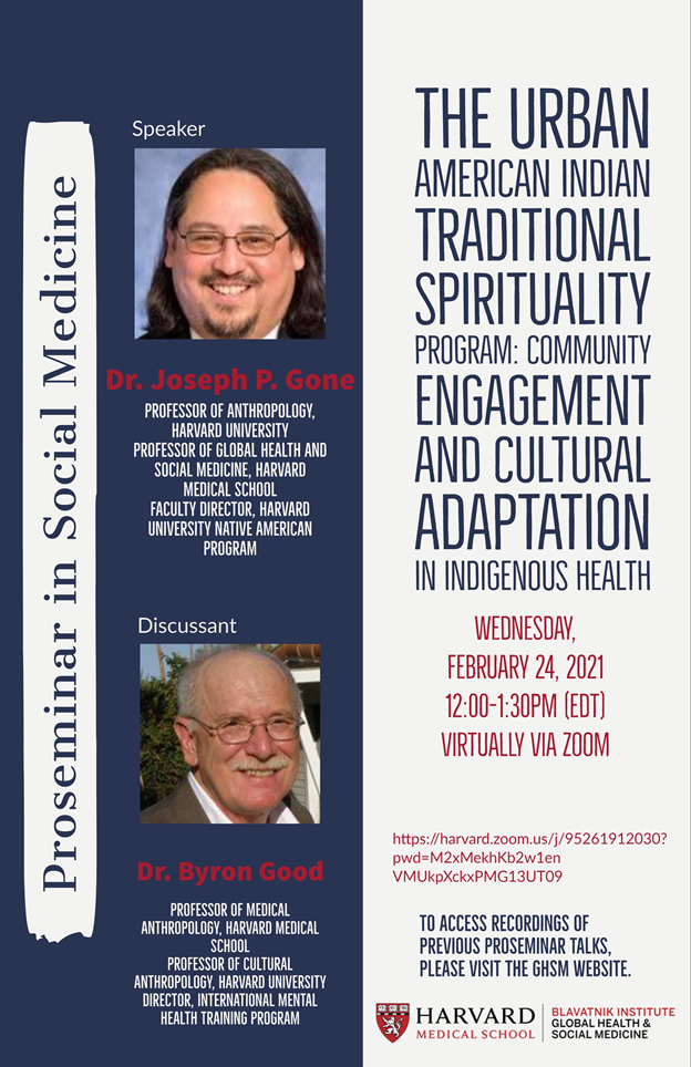 Flyer for the Urban American Indian Traditional Sprituality Program: Community Engagement and Cultural Adaptation in Indigenous Health on February 24.