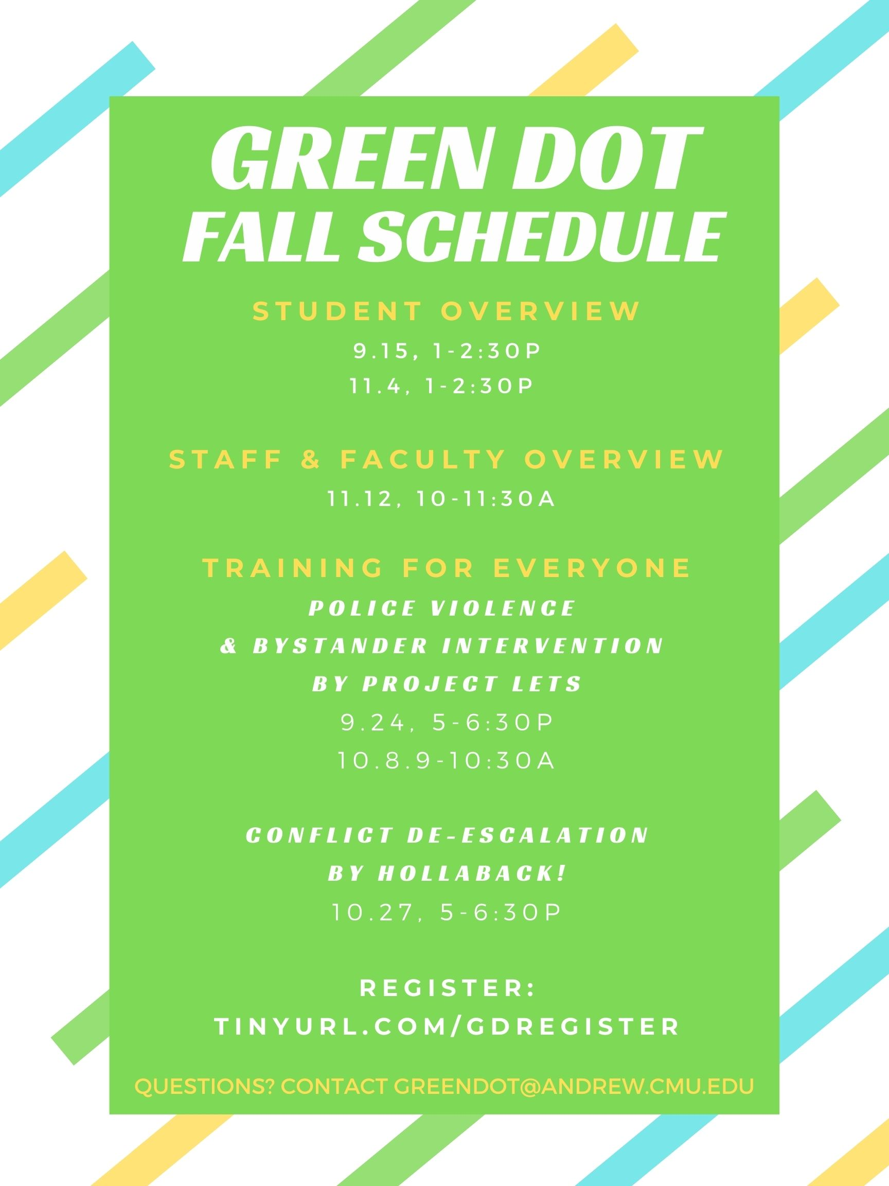 Flyer for Green Dot fall schedule