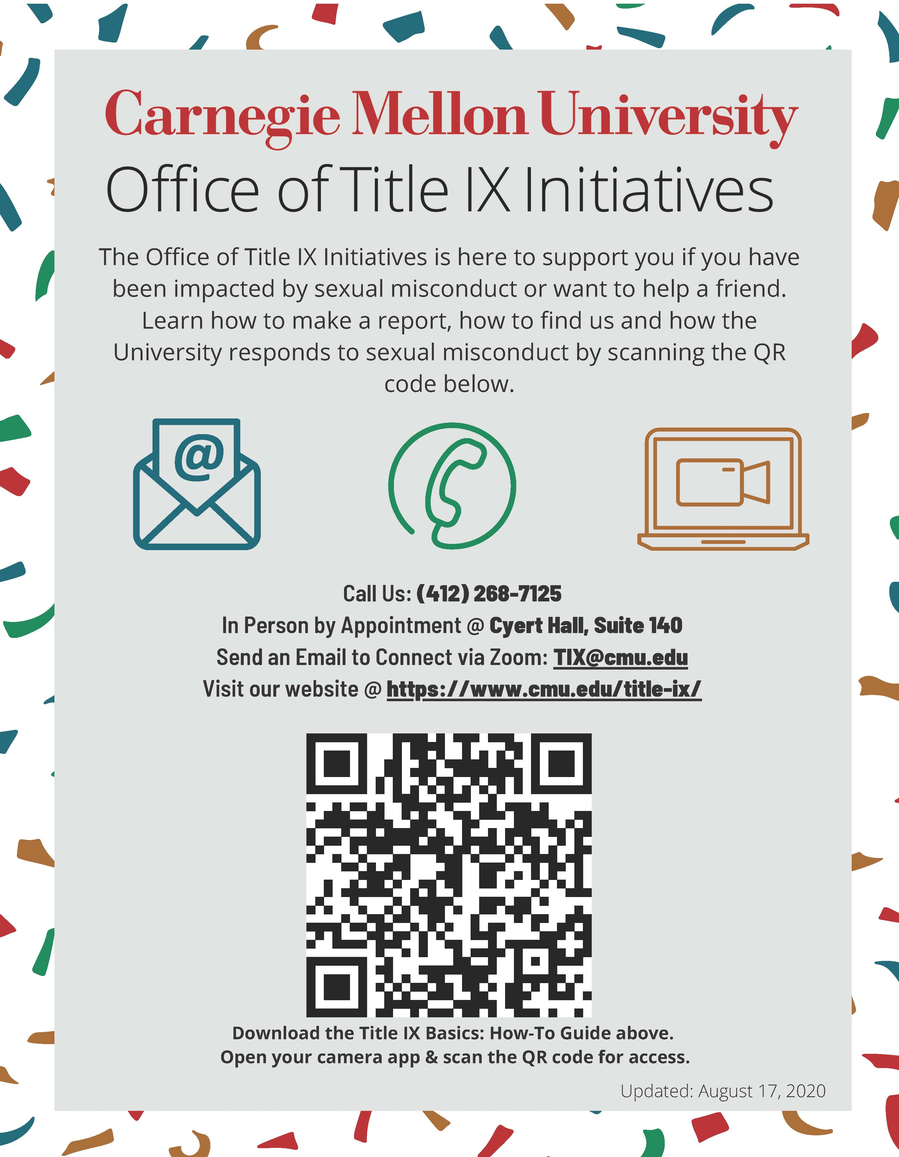 Flyer for Office of Title IX Initiatives support