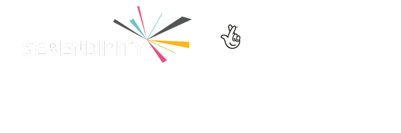 Logos for Serendipity, Arts Council Englands, HM Govenment in partnership with THe National Lottery Community Fund