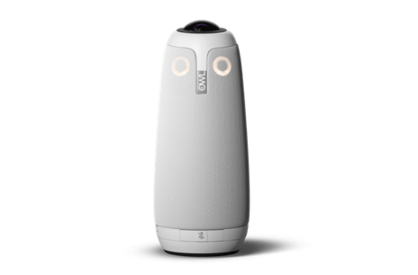 Cylindrical device with two buttons on the front that make it look like an owl