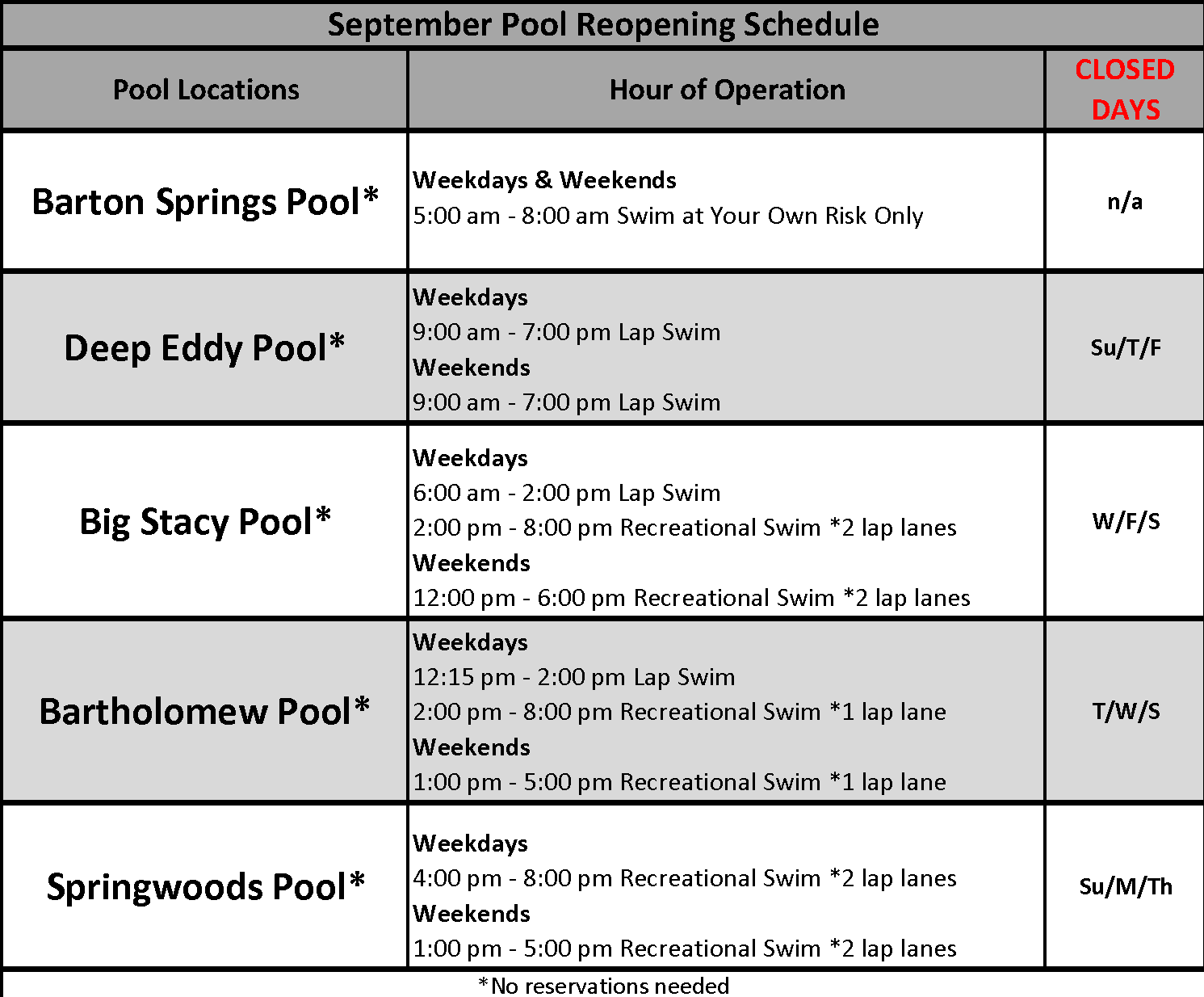 Pool schedule with link to website.