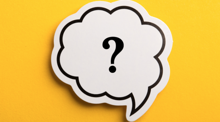 Yellow background, white thought bubble with a question mark