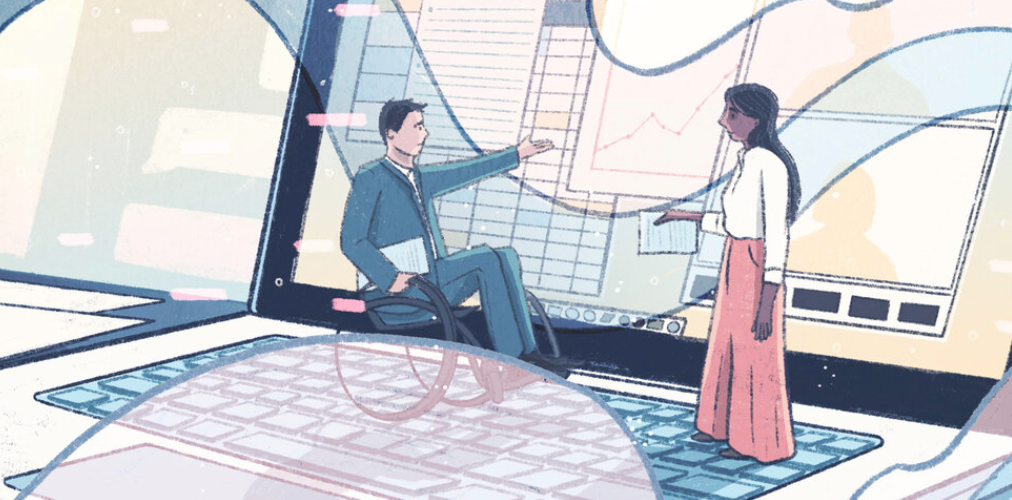 Cartoon woman and man in wheelchair discussing image on laptop