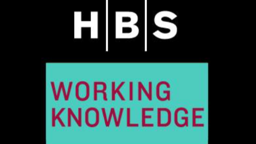 HBS.edu black background. Says HBS, WORKING KNOWLEDGE