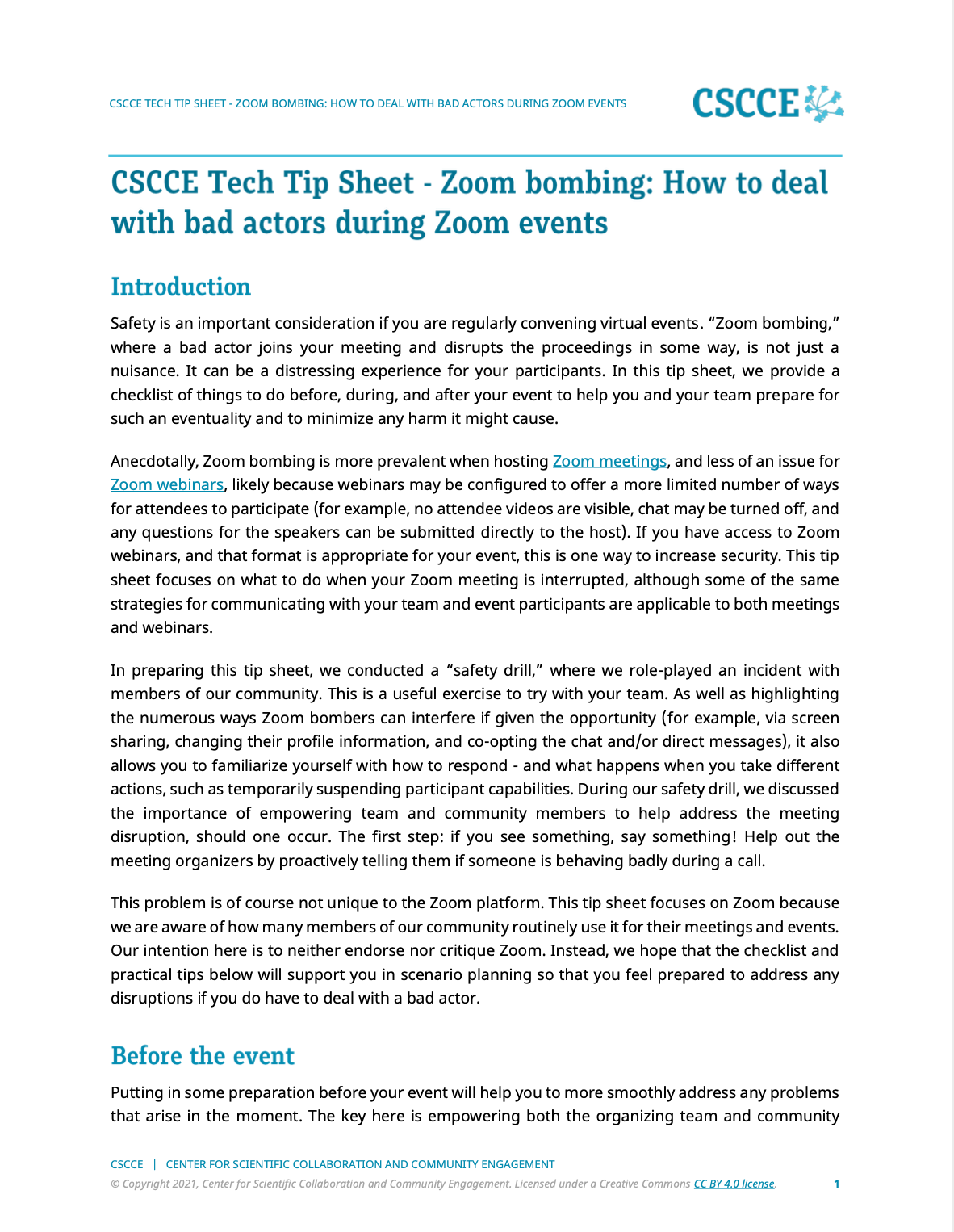 CSCCE Tech Tip Sheet on Zoom bombing
