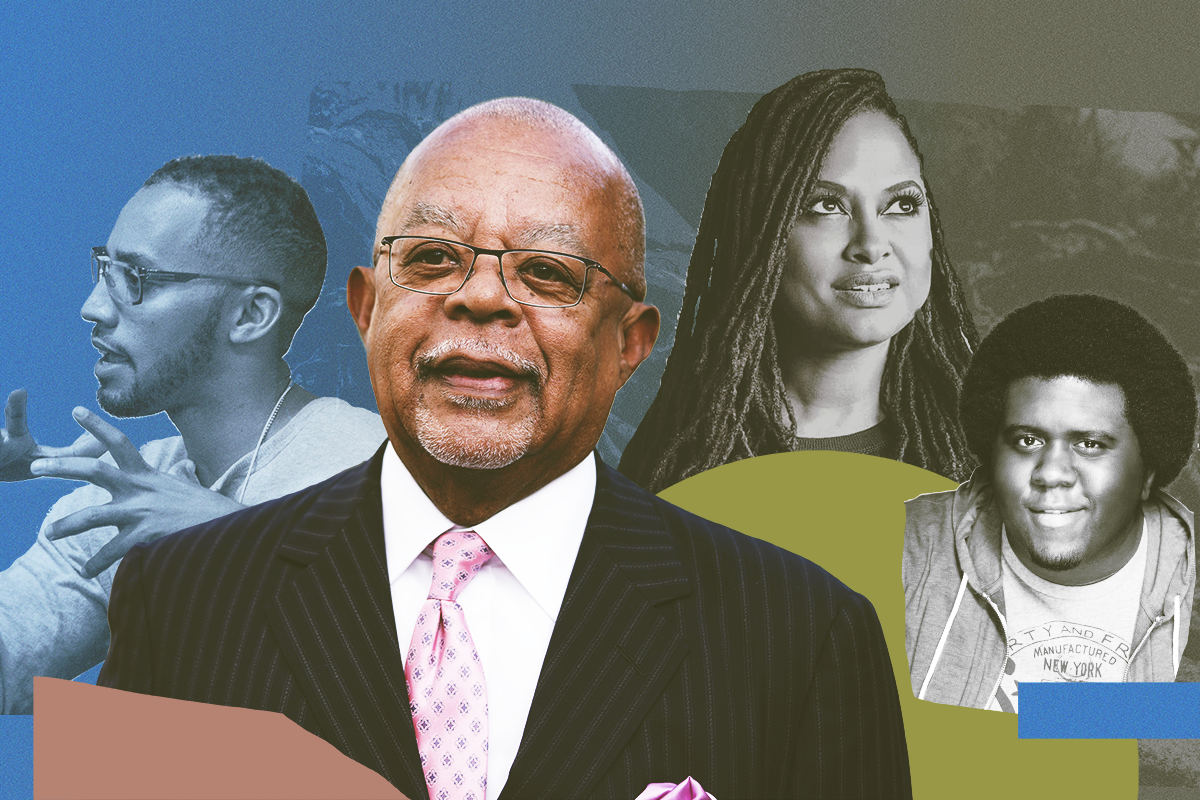 A collage of portraits of Black Americans, including Henry Louis Gates, Jr. and Ava DuVernay