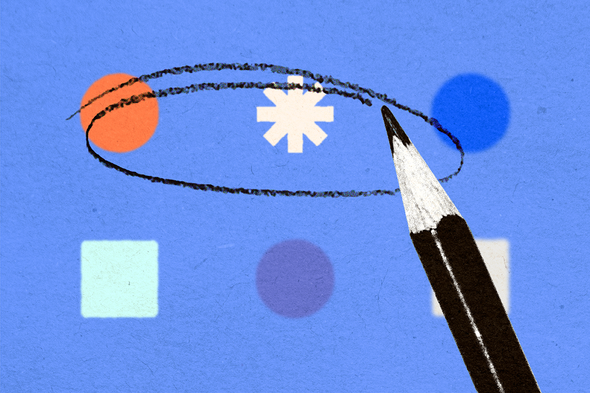 Blue rectangle with small geometric shapes and an illustrated pencil on top circling some of the shapes