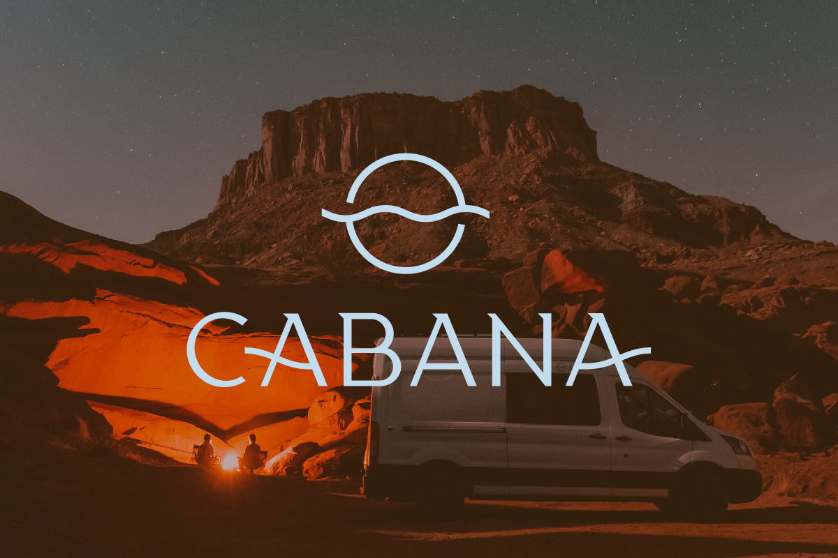 light blue logo with the word Cabana on top of a dark orange and brown photo of a mesa