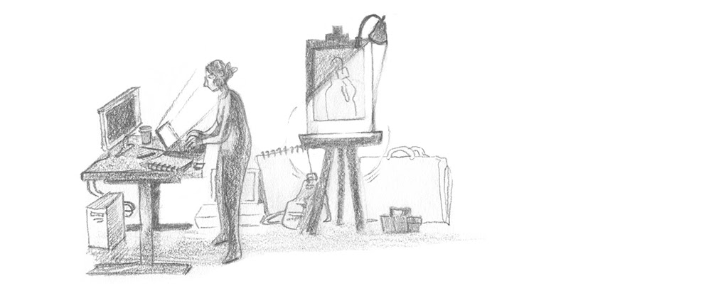 A person programming, with an easel and many paintings-in-progress behind them.