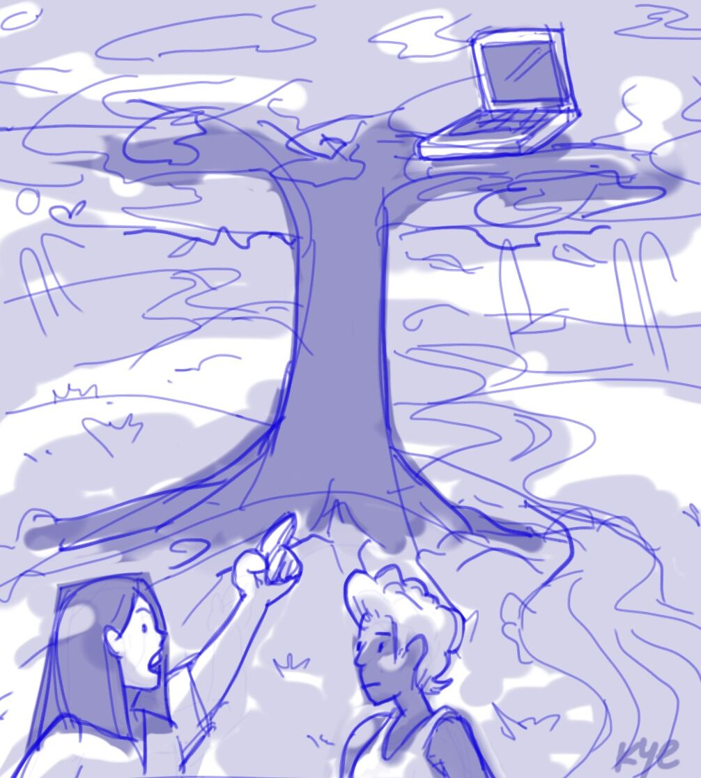 A cartoon of two people, with one person pointing at a laptop sitting on a tree branch and speaking.