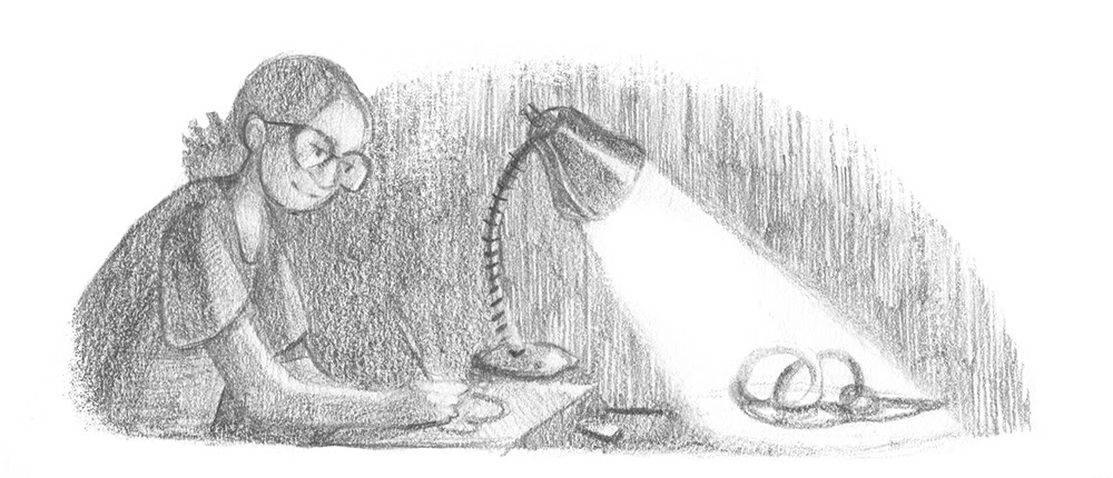 A person sketching a still life of cables and wires.