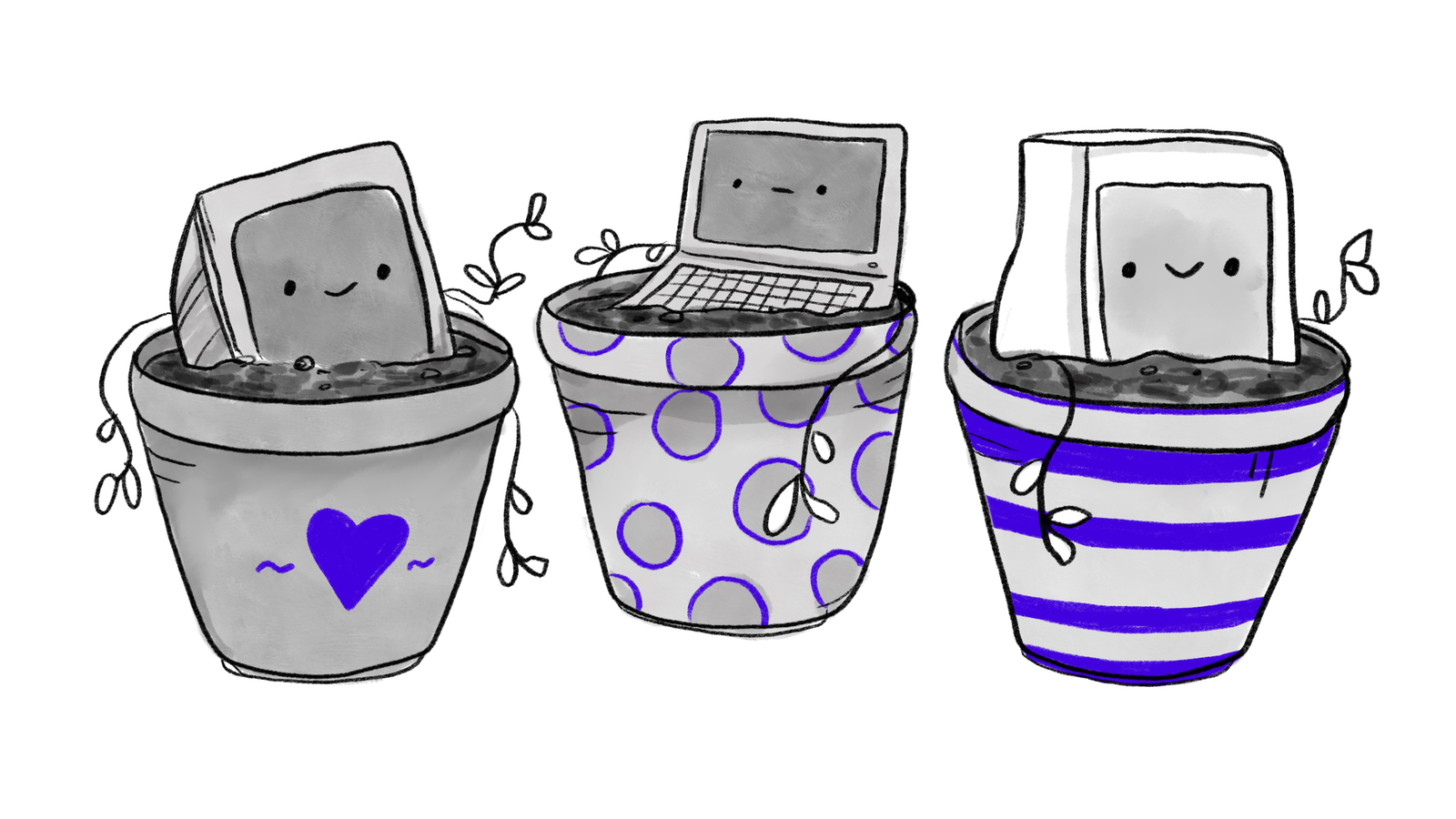 Three smiling computers growing out of colorful pots like little plants.