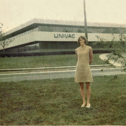 Janice Silcox, c. 1968 or 1969 in front of the main UNIVAC building in Blue Bell, Pennsylvania.