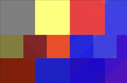 An irregular grid of colored rectangles in blue, red, yellow, and gray