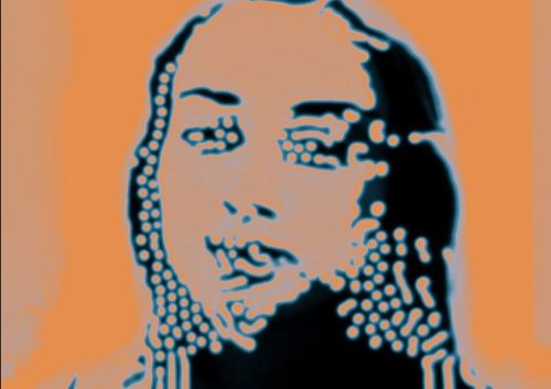 An image of a face with stylized colors and distorted by blobs