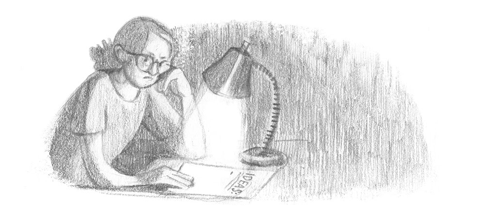 A person frowning at a blank page labeled 'IDEAS'.