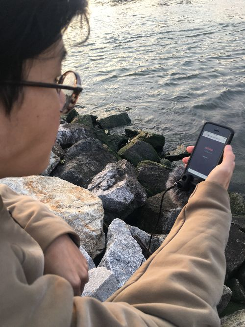 An photograph of a man holding a cellphone near the shoreline of Newtown Creek