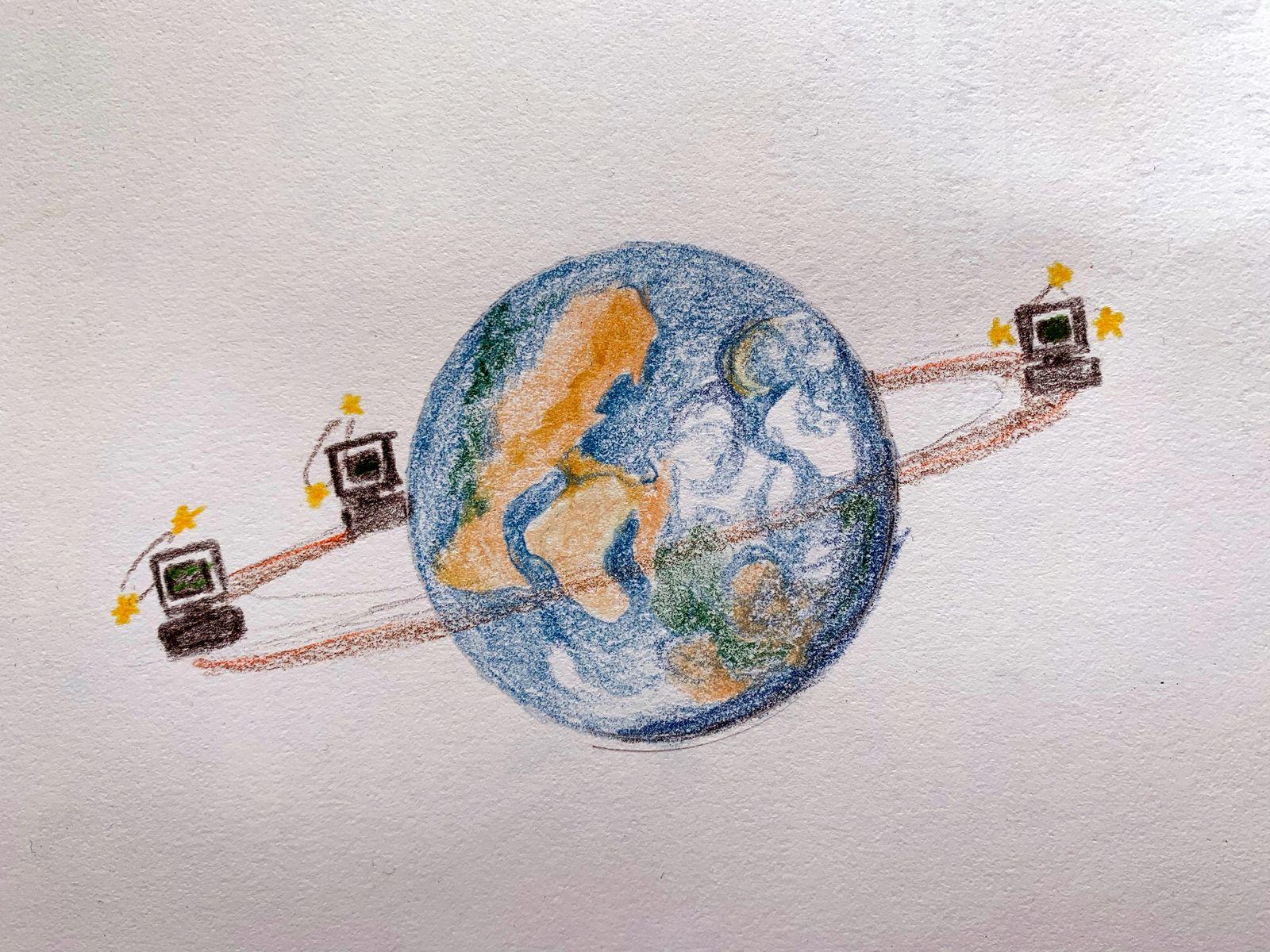 A globe with three computers orbiting around it