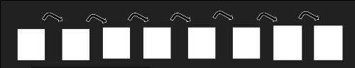 Una serie de marcos blancos conectados por flechas negras
