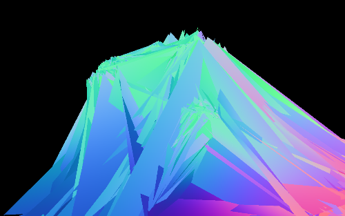 A glitchy, colorful, 3D rendered graphic
