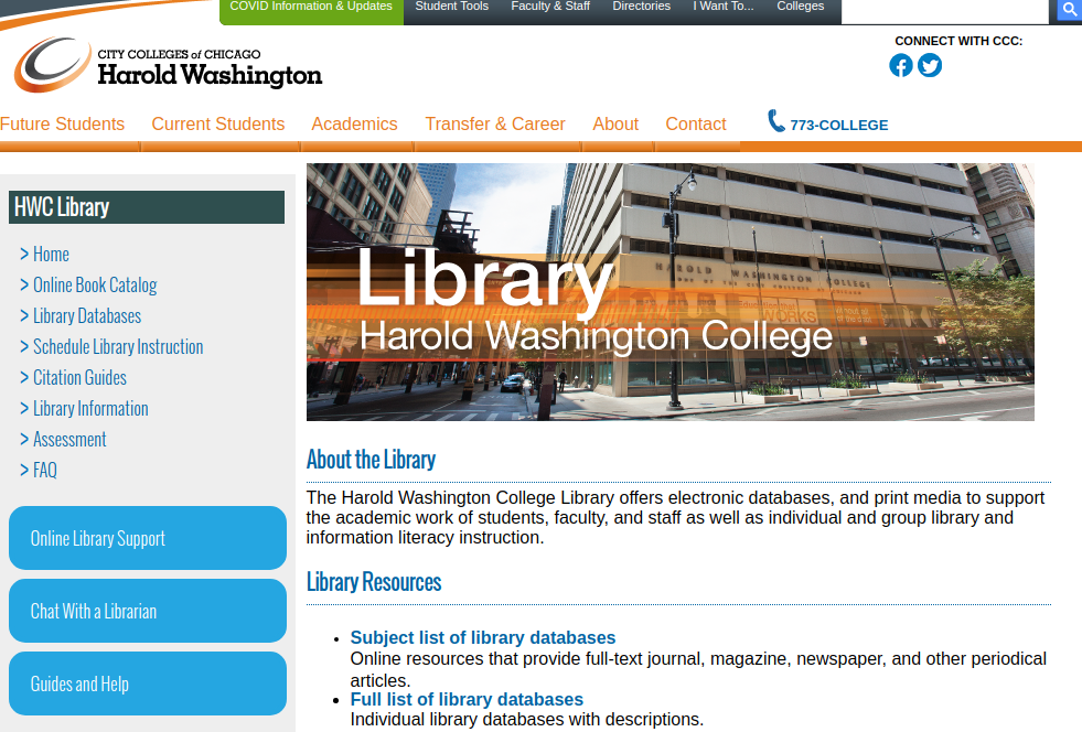Screen capture of the HWC Library's homepage.