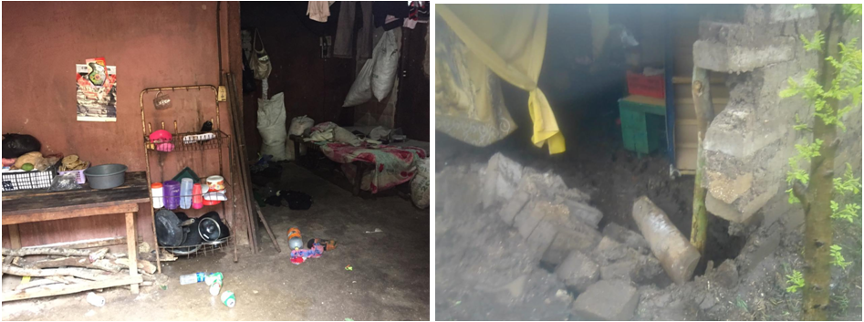 huizen na de storm in El Salvador