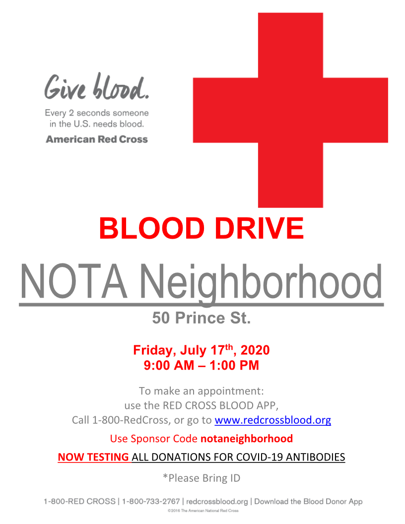 NOTA blood drive poster with the sponsor code notaneighborhood